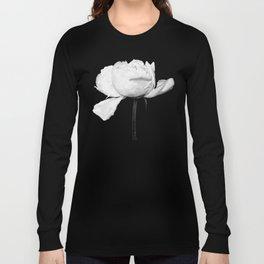 White Peony Black Background Long Sleeve T-shirt