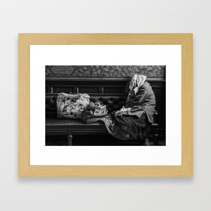 Bag lady in Edinburgh Portrait Gallery Framed Art Print