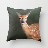 fawn Throw Pillows featuring Fawn by Jai Johnson