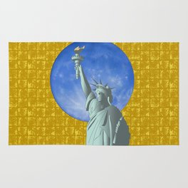 Statue of Liberty & the Moon on Gold-leaf Screen Rug