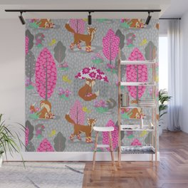 Foxes in Galoshes - Pink and Gray Wall Mural
