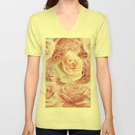 Soft Pink Roses Unisex V-Neck