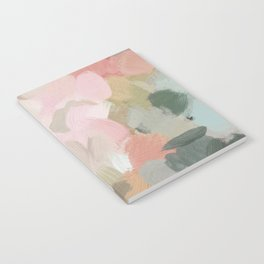 Forest Green Fuchsia Blush Pink Abstract Flower Spring Painting Art Notebook