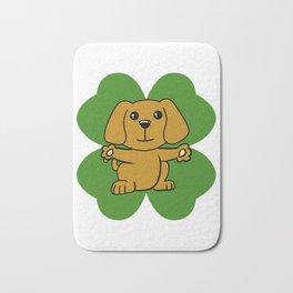 Dog On Four Leaf Clover- St. Patricks Day Funny Bath Mat