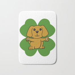 Dog On Four Leaf Clover- St. Patricks Day Funny Bath Mat