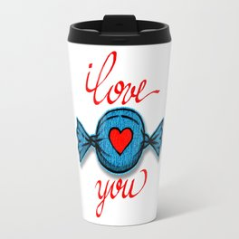 I love you (blue) written in red Travel Mug