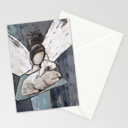 Messy Bun Angel with Lamb Stationery Cards