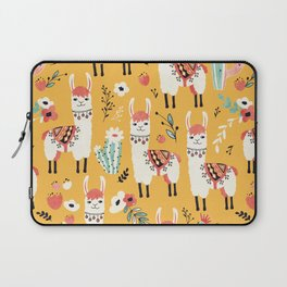 White Llama with flowers Laptop Sleeve