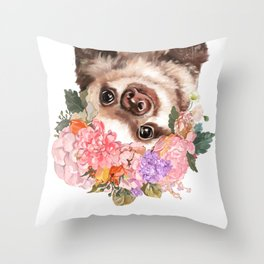 Baby Sloth with Flowers Crown in White Throw Pillow