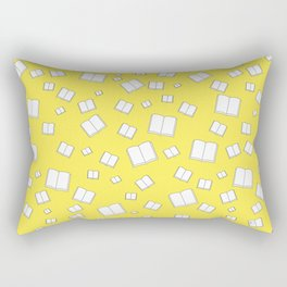 Sunny Yellow Flying Books Pattern Rectangular Pillow