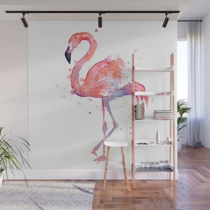 Flamingo Watercolor Wall Mural
