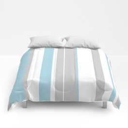 grey and blue striped Comforters