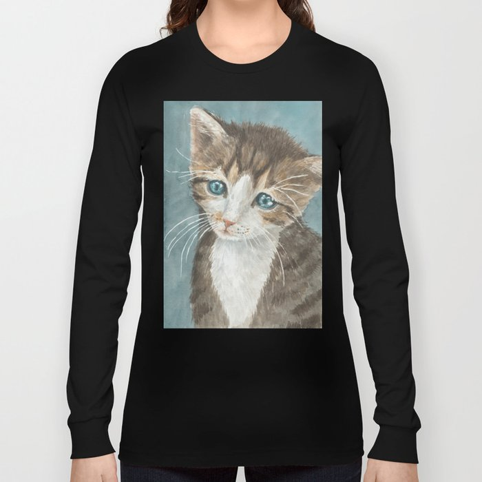 Kitten, watercolor potrait Long Sleeve T-shirt