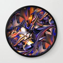 Iridescent Copper Metallic Patina Abstract Wall Clock
