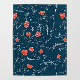 Orange pink pastel navy blue modern floral Poster