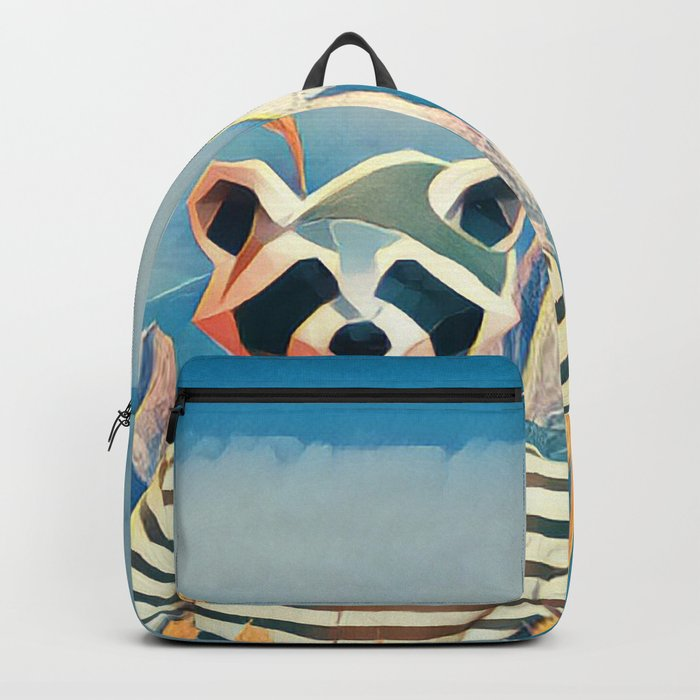 Raccoon in the wheat field Backpack