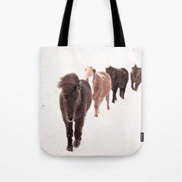 Icelandic Horses Walking Tote Bag