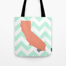 San Diego California in Coral on Mint Chevron Tote Bag