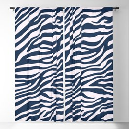 Navy Blue Zebra Animal Print Blackout Curtain