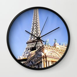 Eiffel tower at Las Vegas, USA with blue sky Wall Clock