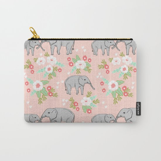 Elephants pattern blush pink pastel with florals cute nursery baby animals lucky gifts Carry-All Pouch