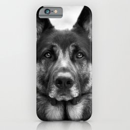 Regal German Shepherd in Black and White iPhone Case