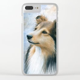 Dog 122 Sheltie Collie Dog Clear iPhone Case