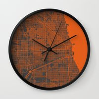 chicago map Wall Clocks featuring Chicago map by Map Map Maps