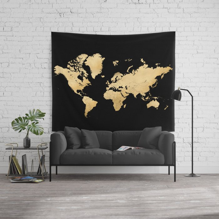Sleek black and gold world map wall tapestry by blursbyaishop society6 gumiabroncs Images