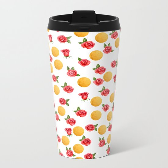 Grace - Watercolor Red Roses and Golden Polka Dots Pattern Metal Travel Mug