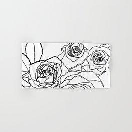 Feminine and Romantic Rose Pattern Line Work Illustration Hand & Bath Towel