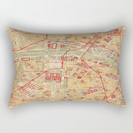 Paris City Centre Map - Vintage Full Color Rectangular Pillow