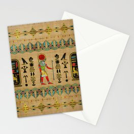 Egyptian Re-Horakhty  - Ra-Horakht  Ornament on papyrus Stationery Cards