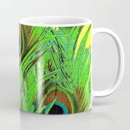 YELLOW-GREEN PEACOCK FEATHERS ABSTRACT ART Coffee Mug