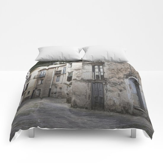 Sicilian Alley in Caltabellotta Comforters
