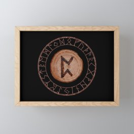 Perthro Elder Futhark Rune of fate and the unmanifest, probability, luck, nothingness, the unborn Framed Mini Art Print