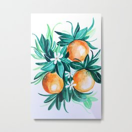 Orange flower watercolor Metal Print