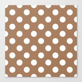 French beige - brown - White Polka Dots - Pois Pattern Canvas Print