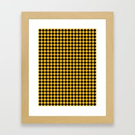 Black and Amber Orange Diamonds Framed Art Print