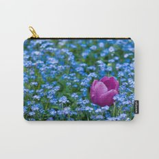 Pink Tulip in the blue Carry-All Pouch