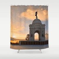 battlefield Shower Curtains featuring Winter Gettysburg Sunrise by Nicolas Raymond