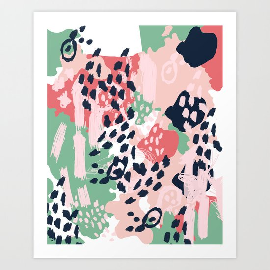 Brooklin - abstract minimal pink coral navy painting home decor abstract charlotte winter art Art Print
