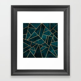 Deep Teal Stone Framed Art Print