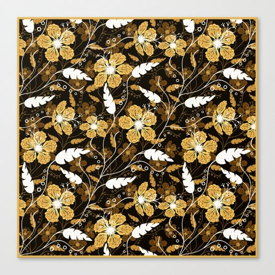 Abstract,floral pattern. Golden flowers on a black background. Canvas Print