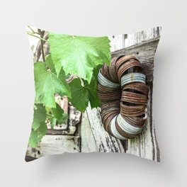 Rusty Wreath Throw Pillow