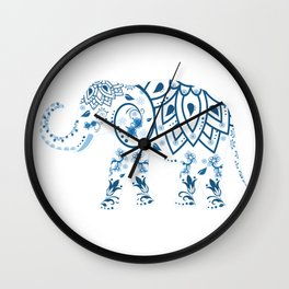 Floral Elephant Wall Clock