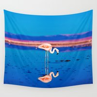 flamingo Wall Tapestries featuring Flamingo by EclipseLio