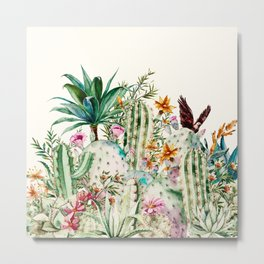 Blooming in the cactus Metal Print