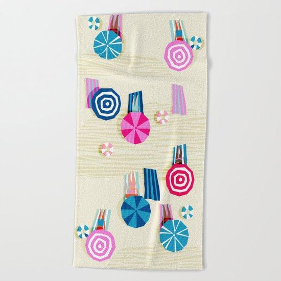 A-OK - memphis throwback neon wacka design pop art illustration beach socal vacation 1980s 80s style Beach Towel