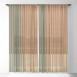 Color Block Line Abstract XIV Sheer Curtain